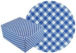 ギンガム紺柄の包装紙と包装した箱の画像