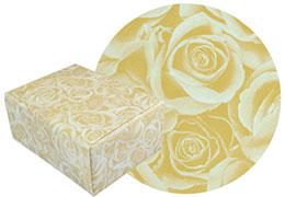 グレイスフル柄の包装紙と包装した箱の画像