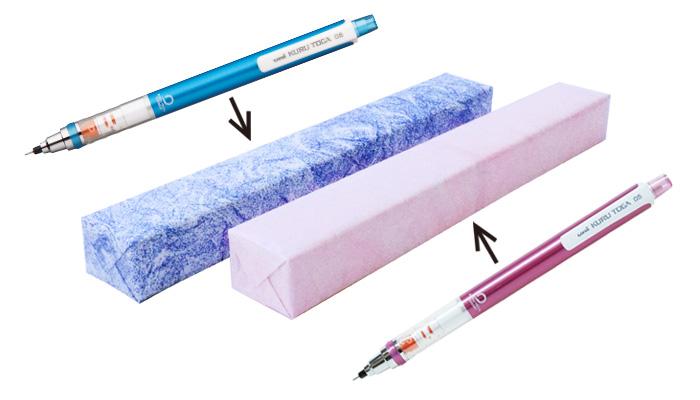 商品色が赤の商品には雲竜ピンクで包装し、商品色が青の商品には雲竜ブルーで包装している画像