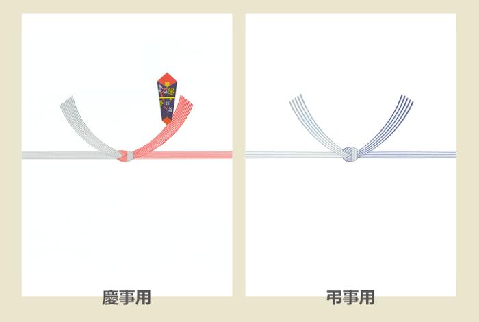 慶事用(紅白)、弔事用(黒白)の結び切りののし紙の印字例の画像